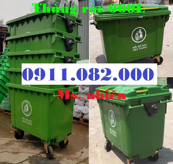 Bán thùng rác 660 lít giá rẻ tại cần thơ- thùng rác 4 bánh xe- lh 0911082000