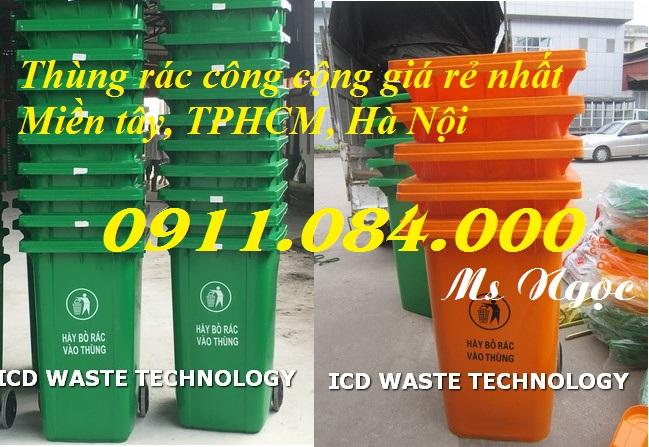 Thùng rác 240L nhựa Sài Gòn màu xanh giá rẻ nhất Quận 2 - Call: 0911.084.000 Ms Ngọc