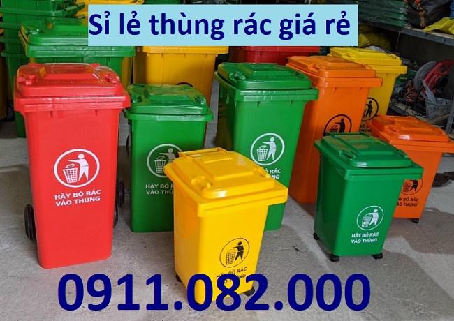 Thùng rác 660 lít giá rẻ tại hậu giang- thùng rác 120L 240L xanh, cam, vàng- nắp kín- lh 0911082000