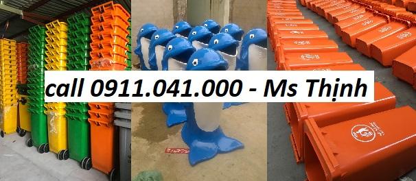 Thùng rác nhựa màu xanh lá, cam-thùng rác nắp kín 120l 0911.041.000